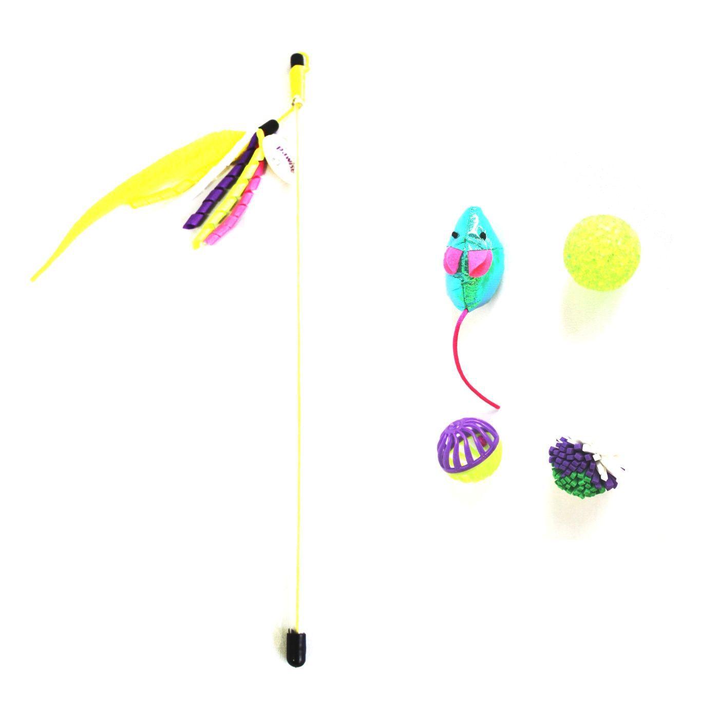 Kit 5 Brinquedo para Gato Varinha e 4 Bolinhas Pawise