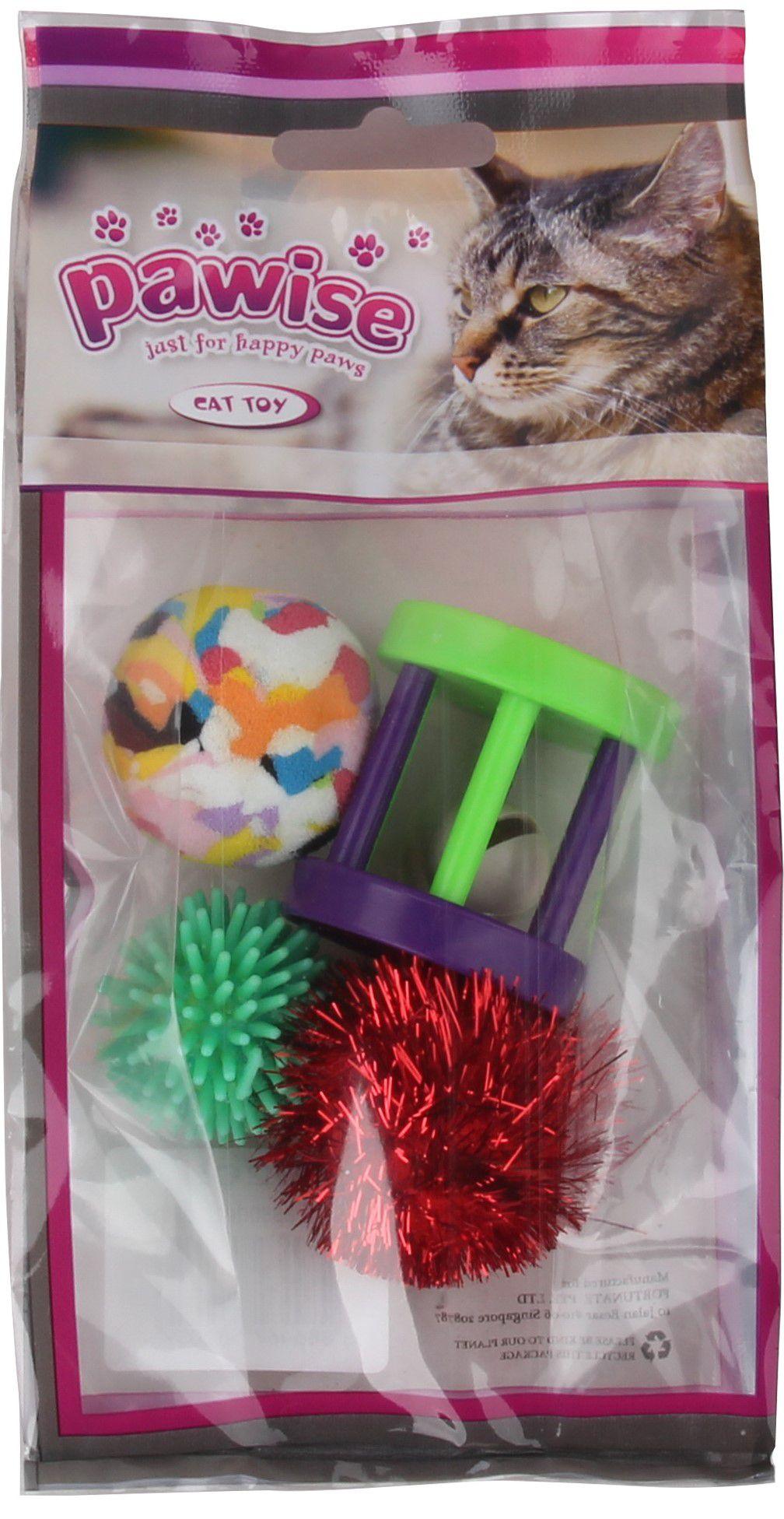 Kit 5 Brinquedos Varinha e Pack c/ 4 Bolas p/ Gato  Pawise