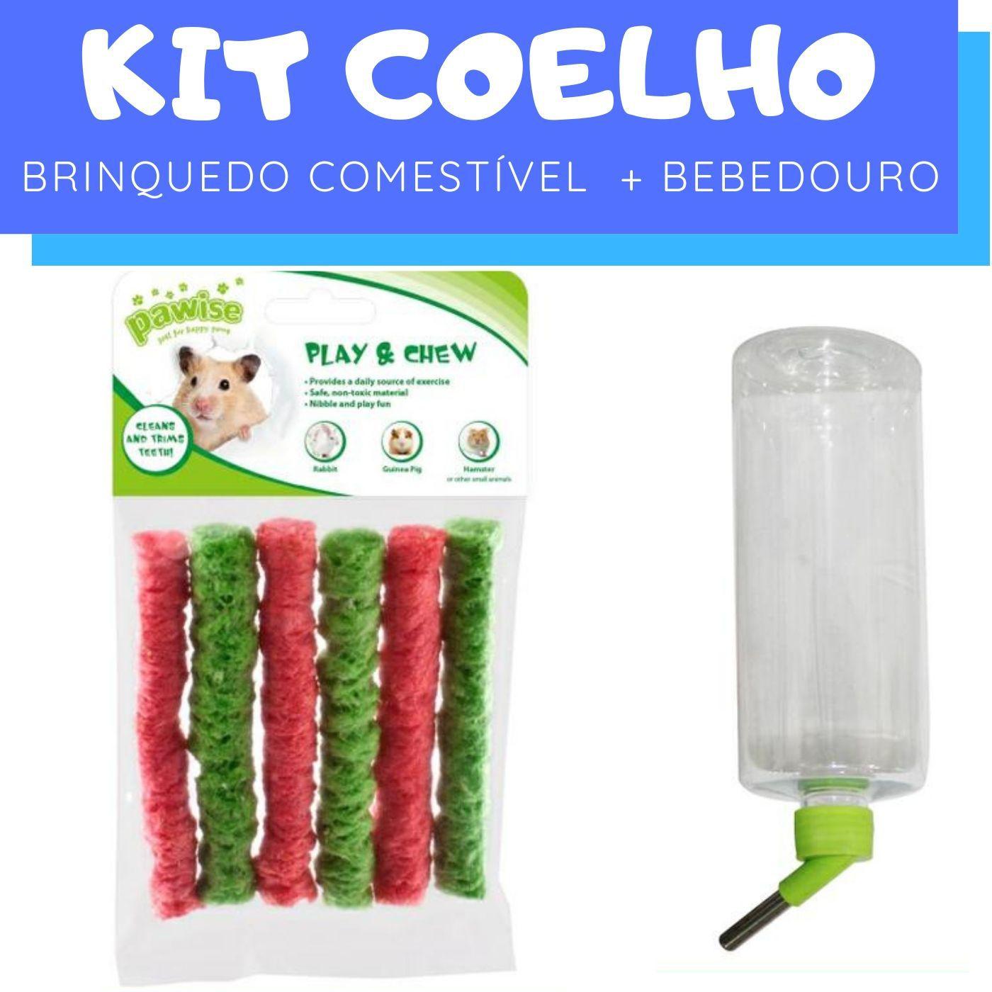 Kit Coelho com Bebedouro e Brinquedo comestível Pawise