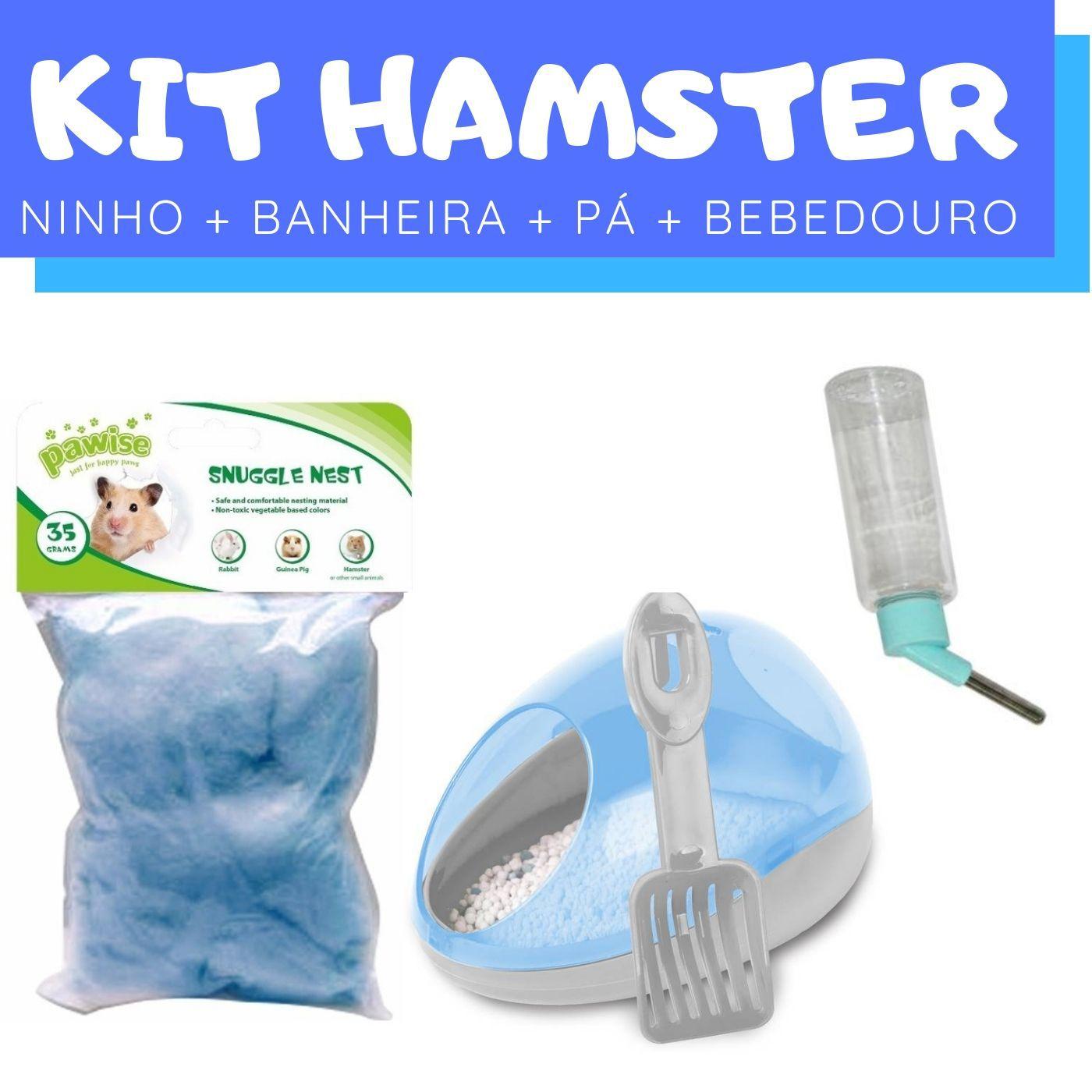 Kit Hamster com Ninho e Pá e Banheiro e Bebedouro Pawise
