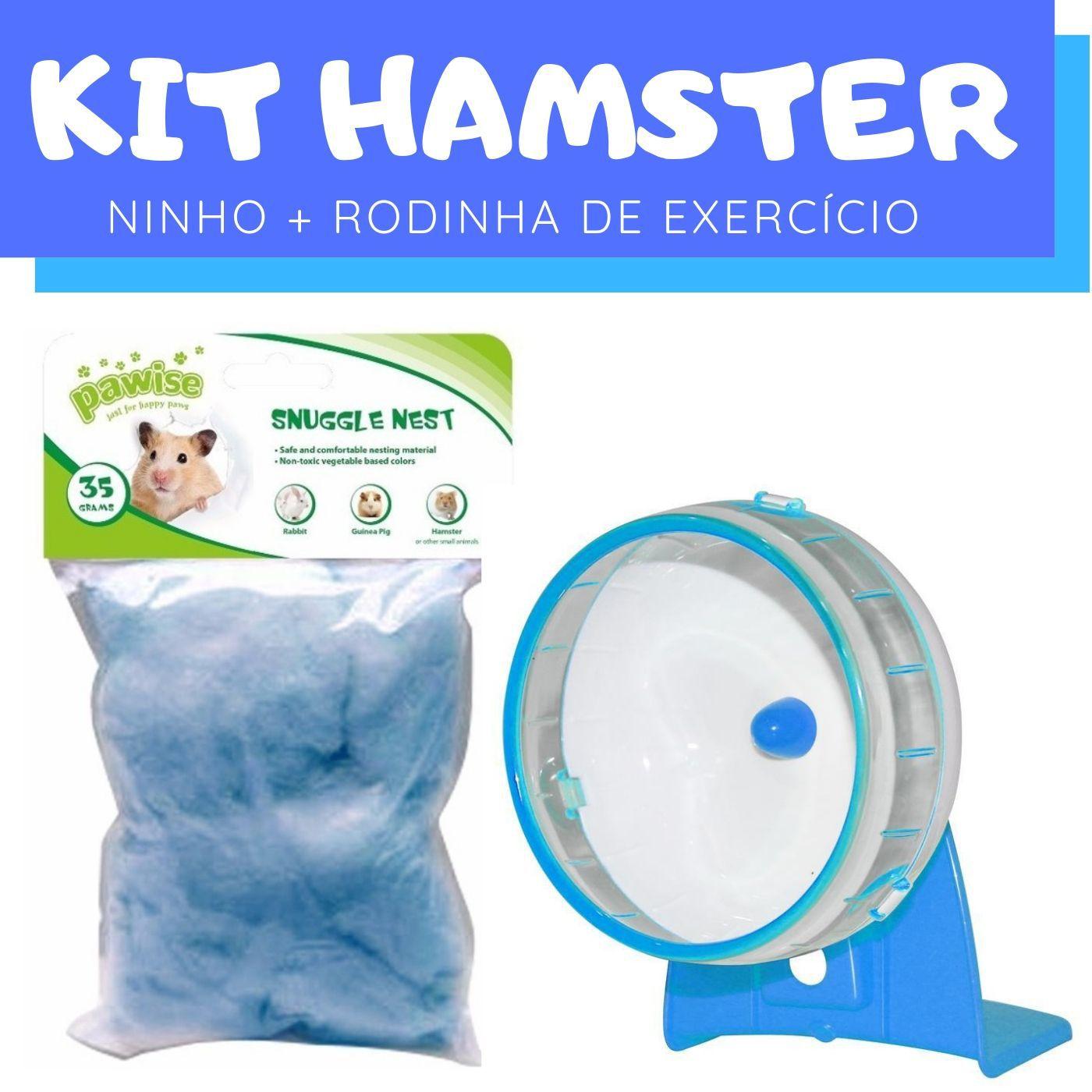 Kit Hamster com Ninho e Rodinha de Exercício Pawise