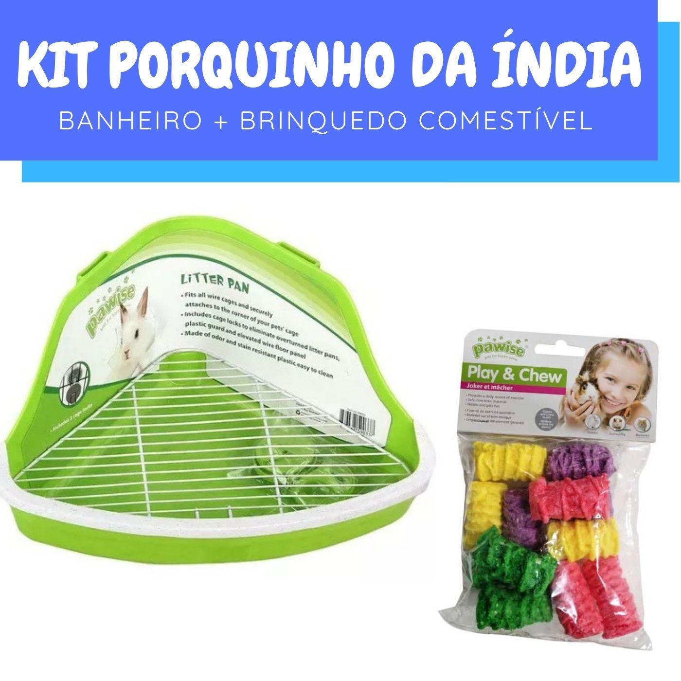 Kit Porquinho da Índia com Brinquedo e Banheiro Pawise