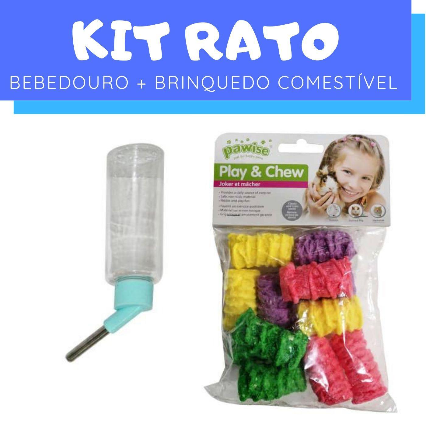 Kit Rato com Bebedouro e Brinquedo Comestível Pawise