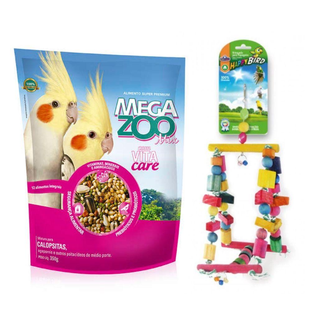 Ração MIX para Calopsita e Brinquedo para Calopsita Megazoo
