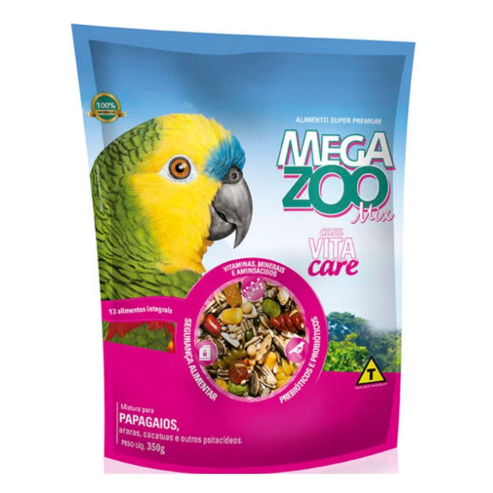 Ração Mix para Papagaios 350 g Megazoo