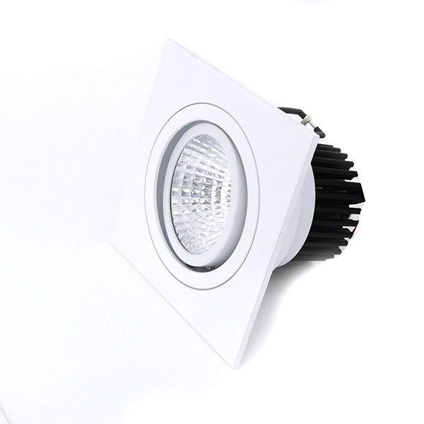 Spot LED 12W Quadrado de Embutir Direcionável Branco Quente