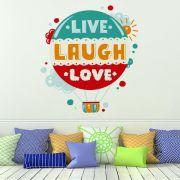 ADESIVO DE PAREDE - FRASE: LIVE, LAUGH, LOVE