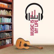 ADESIVO DE PAREDE - FRASE: MUSIC IS MY LIFE 1