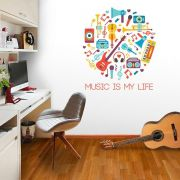 ADESIVO DE PAREDE - FRASE: MUSIC IS MY LIFE 2