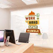 ADESIVO DE PAREDE - FRASE: WORK HARD 1