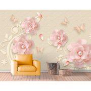 Painel Adesivo - Flor 3D rosa, pérolas e borboletas