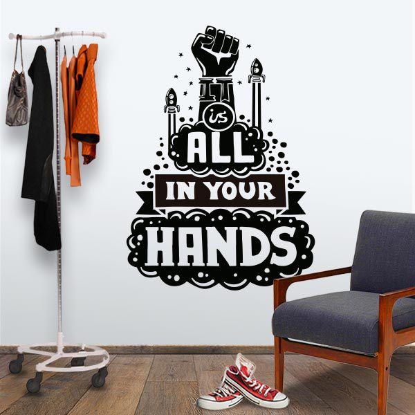 ADESIVO DE PAREDE - FRASE: ALL YOUR HANDS