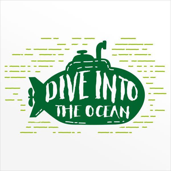 ADESIVO DE PAREDE - FRASE: DIVE INTO THE OCEAN