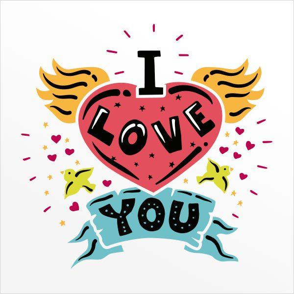 ADESIVO DE PAREDE - FRASE: I LOVE YOU 1