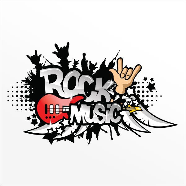 ADESIVO DE PAREDE - FRASE: ROCK MUSIC