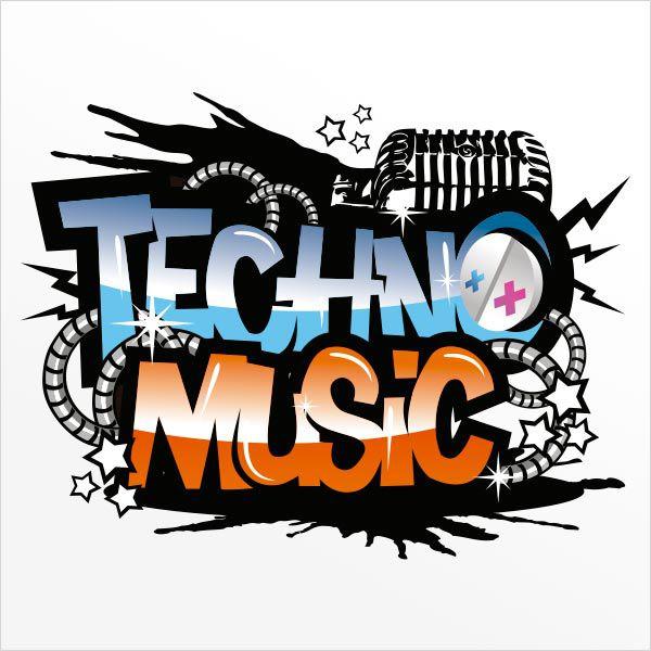 ADESIVO DE PAREDE - FRASE: TECHNO MUSIC