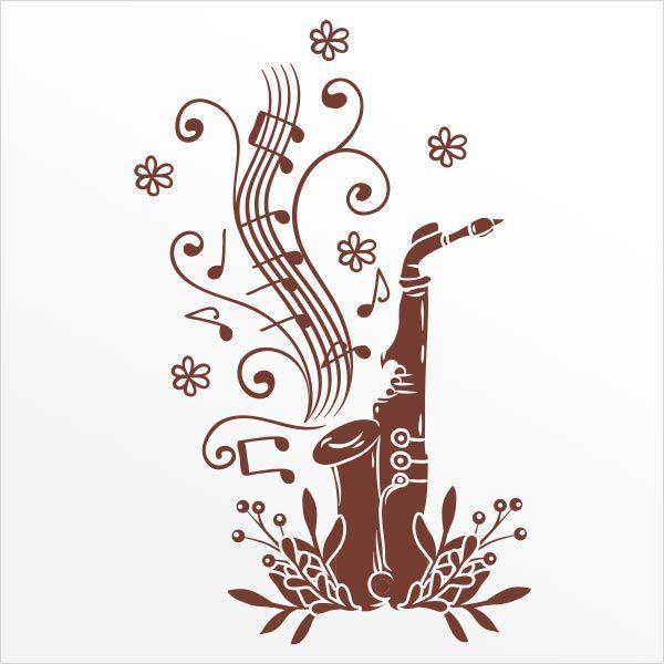 ADESIVO DE PAREDE - MUSICA SAXOFONE