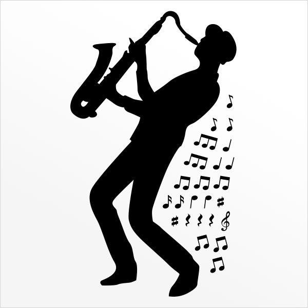 ADESIVO DE PAREDE - MUSICA SAXOFONISTA 1