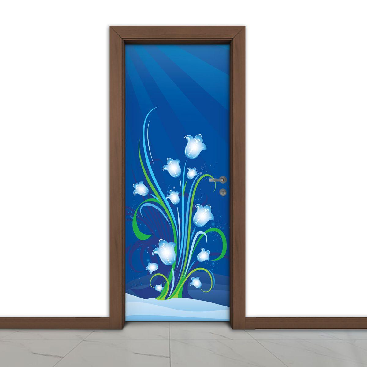 ADESIVO DE PORTA -  Flor Azul 5