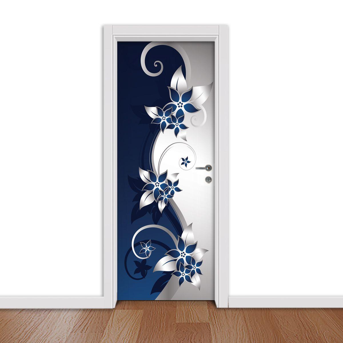 ADESIVO DE PORTA - Floral Preta e Azul