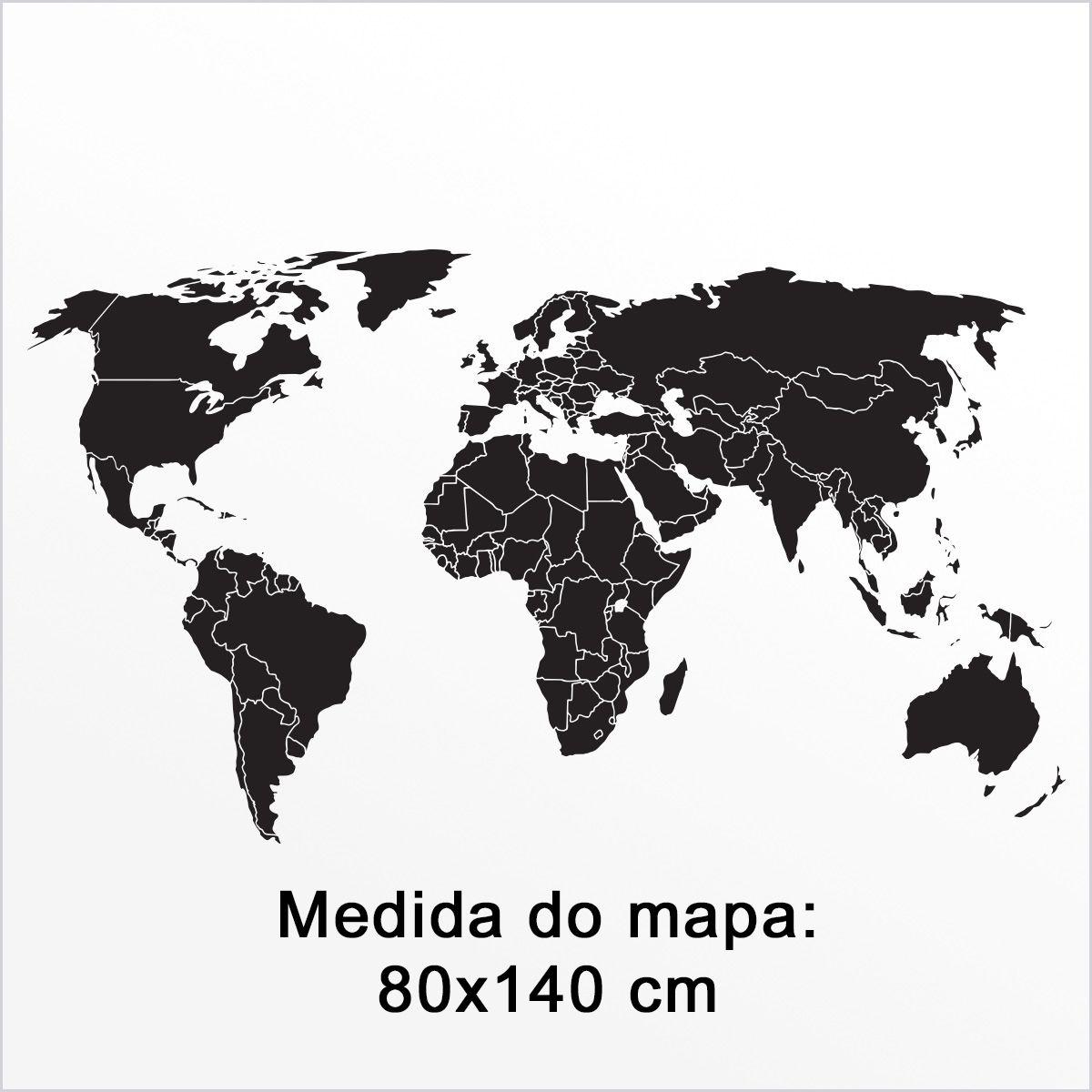 Mapa Mundi Adesivo Molduras Mdf, Mapa Viagens - Frete Grátis (ML)