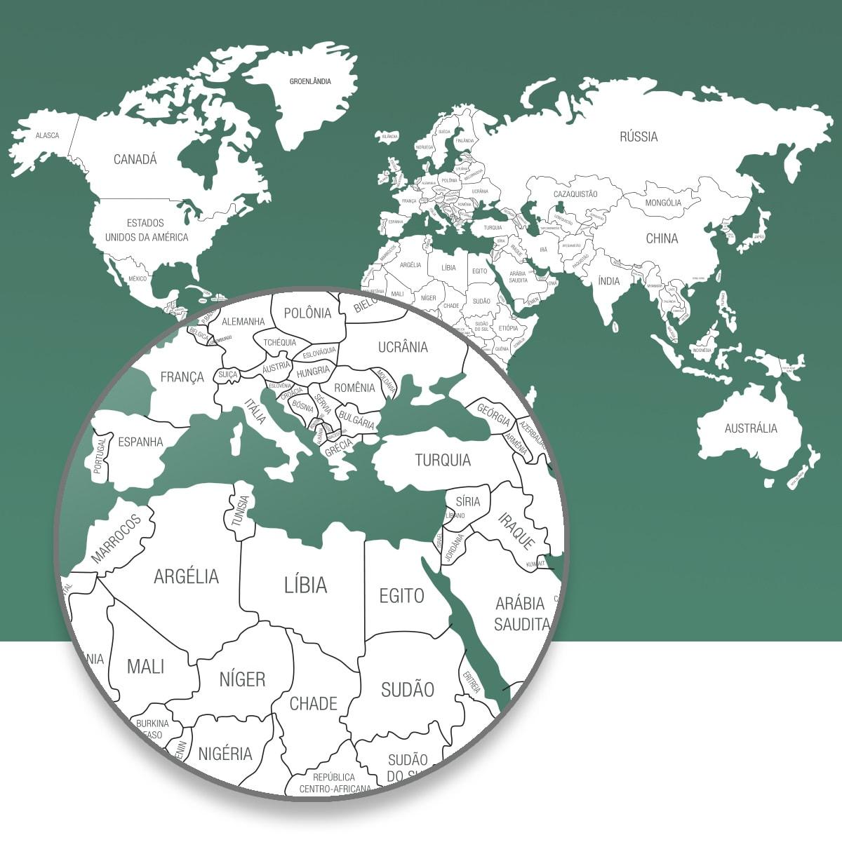 Mapa-Múndi adesivo para parede