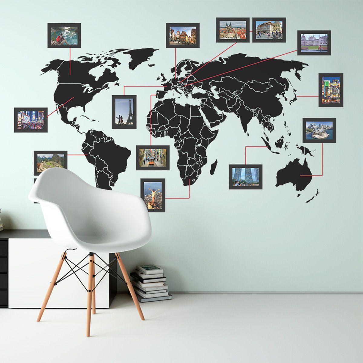 Mapa-Múndi com molduras em PS 2mm