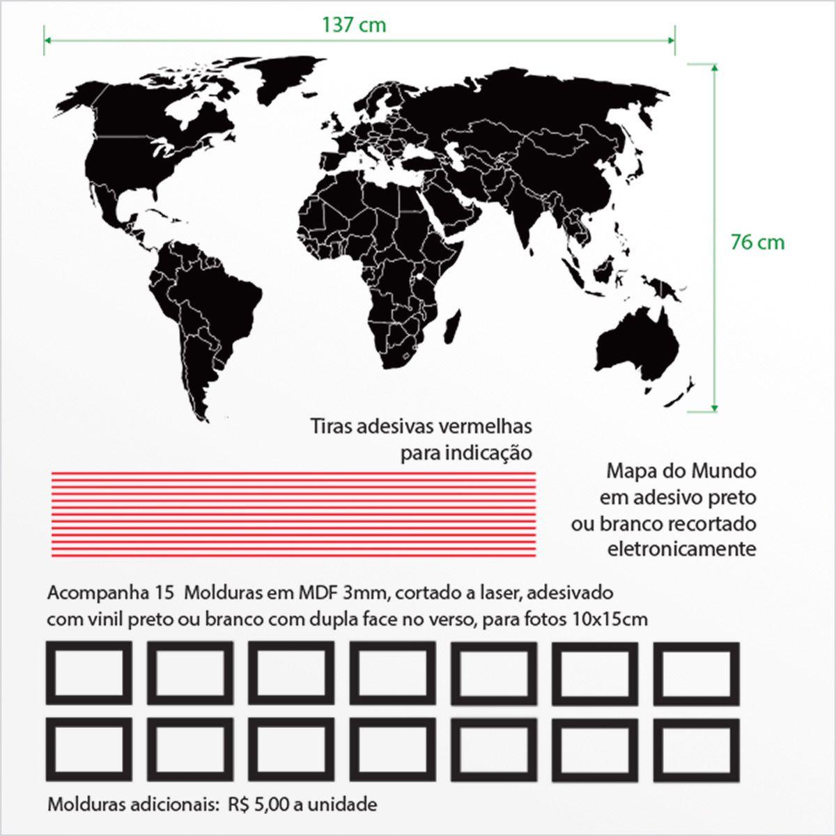 Mapa-Múndi com molduras em MDF 3mm