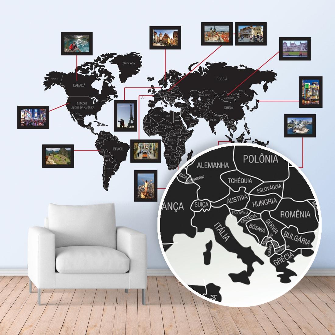 Mapa-Múndi Adesivo com molduras para fotos