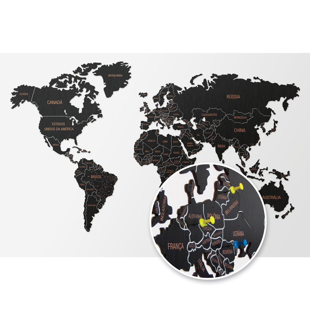 Mapa-múndi De Madeira Mdf - Mapa De Viagens - Com Pins