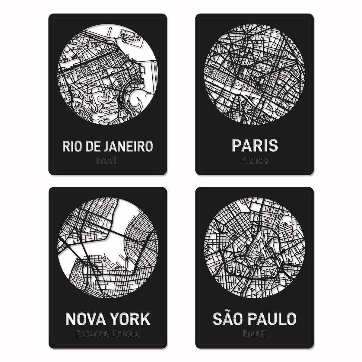 Mapas de cidades recortados em madeira 3mm