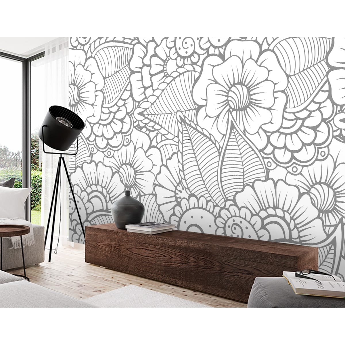 Painel Adesivo - FLORAL CINZA