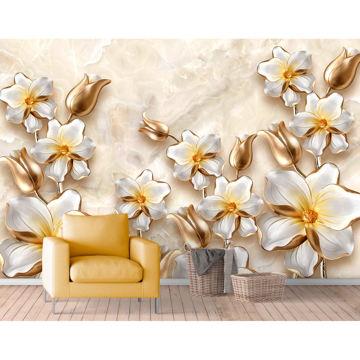 Painel Adesivo - FLORES OURO