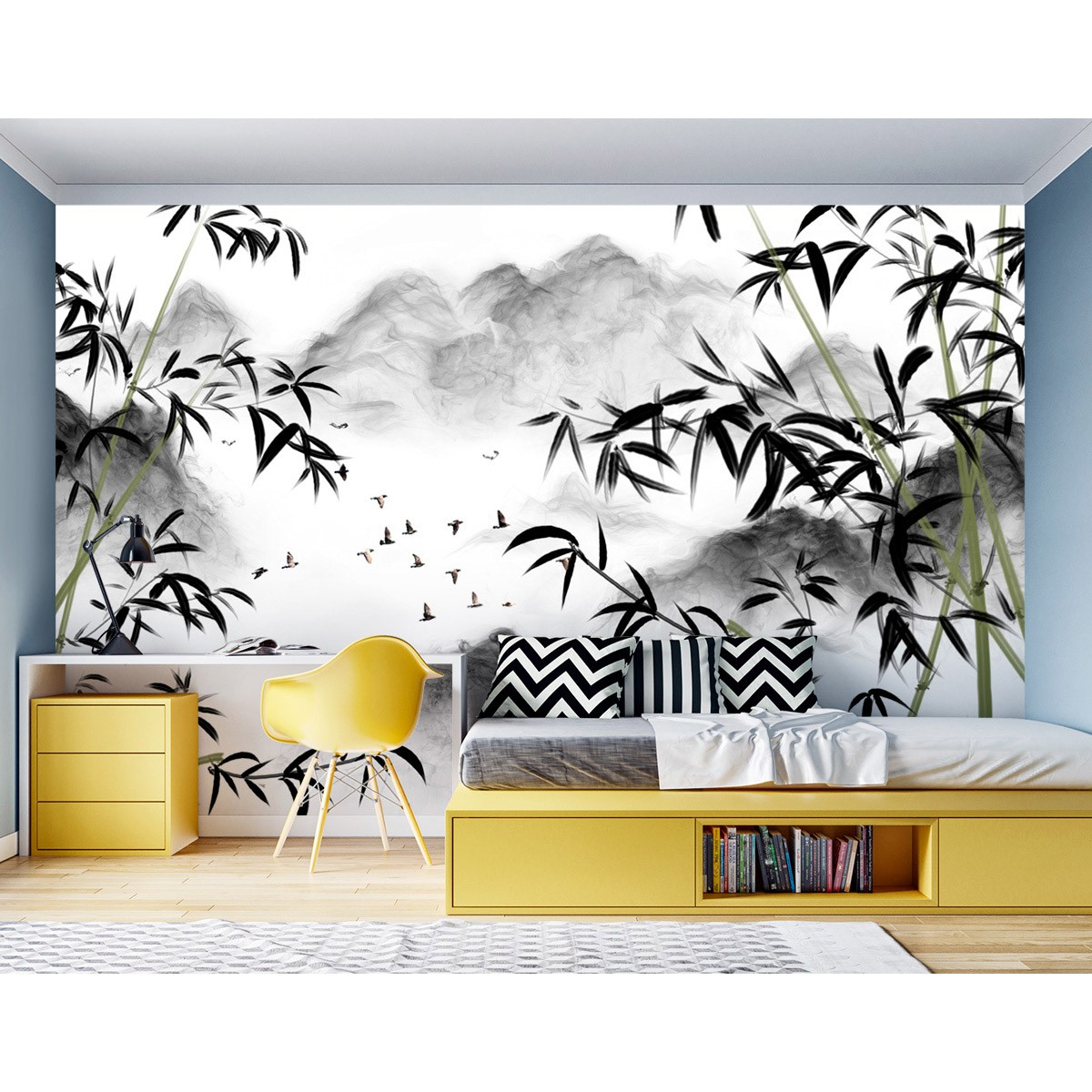 Painel Adesivo - Montanhas e bambus