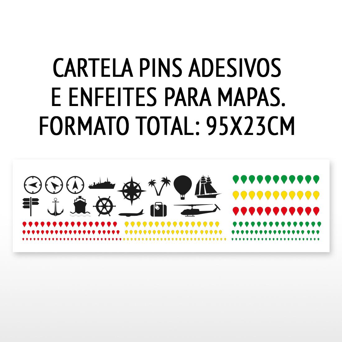 PINS adesivos coloridos e enfeites para mapas