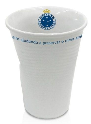 Copo Cruzeiro Tipo Descartável, Amassado Em Porcelana.