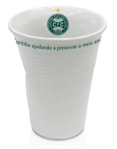Copo Coritiba Tipo Descartável, Amassado Em Porcelana.
