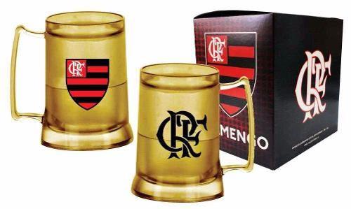 Caneca Chopp Gel Toda Dourada Escudo E Crf - Flamengo