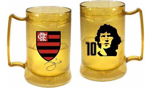 Caneca Gel Flamengo Dourada Zico