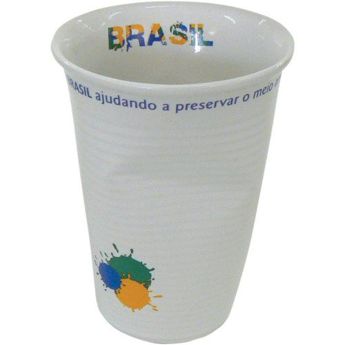Copo Amassado Em Porcelana - Brasil Tipo Descartável
