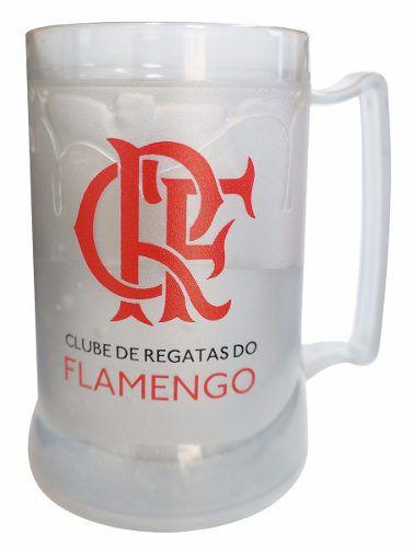 Caneca Chopp Gel Toda Prata Escudo E Crf - Flamengo