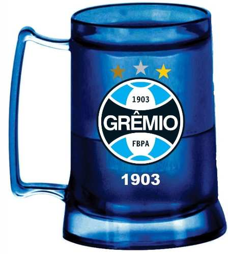 Caneca Chopp Gel Azul + Cooler - Grêmio