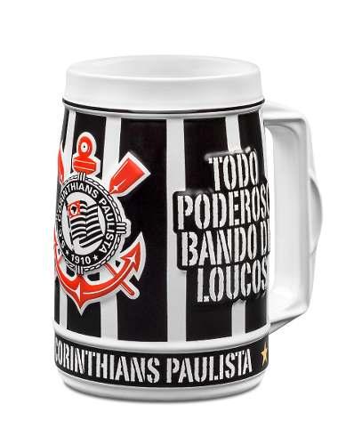Caneco Em Porcelana, Estampas Em Alto Relevo! Corinthians!