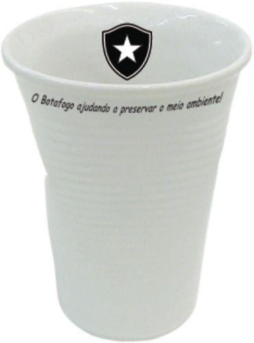 Copo Botafogo Tipo Descartável, Amassado Em Porcelana.