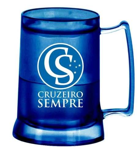 Caneca Chopp Gel Azul - Cruzeiro Sempre - Toda Azul