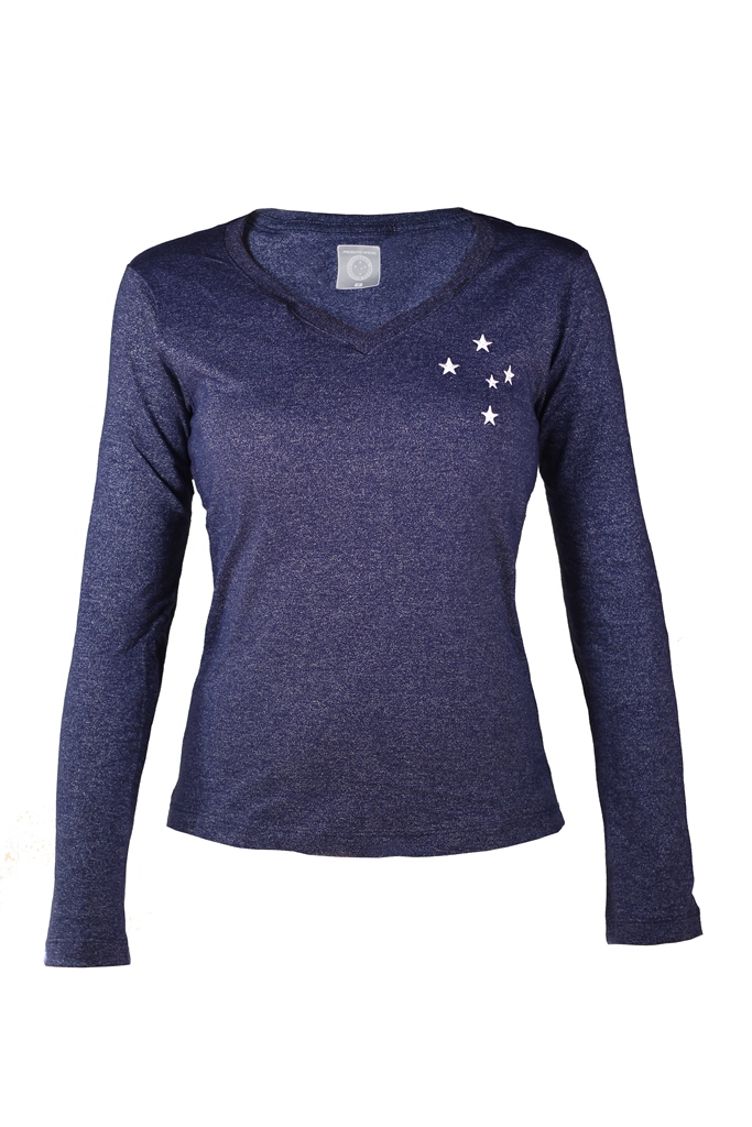 Camisa Feminina Manga Longa Estrelas Bordadas Cruzeiro
