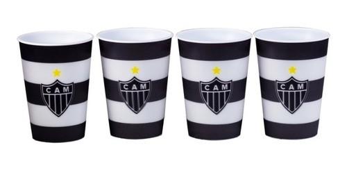 Kit Com 4 Copos Plástico 3D Atlético Mineiro 400 Ml