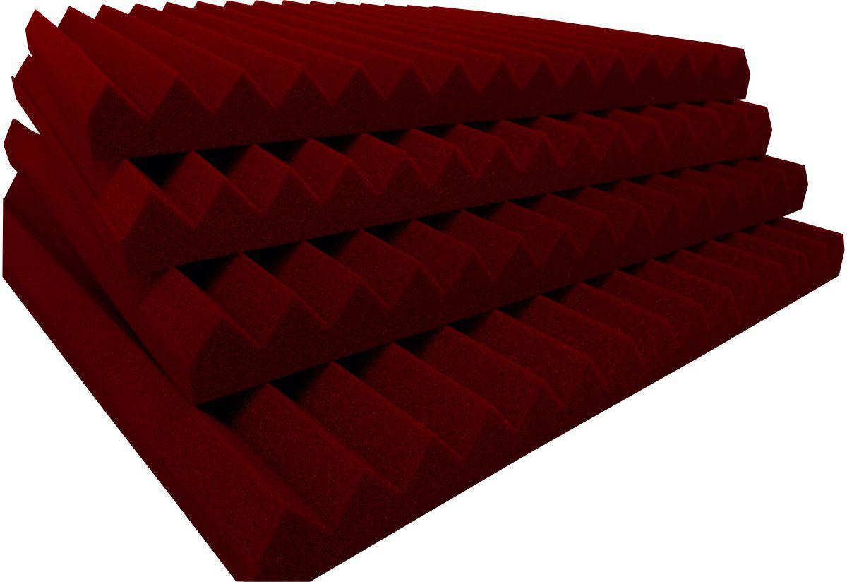 Espuma acústica Linha REV - W2 - Vermelho - Kit 8 peças (2m²)  - Loja SPL Acústica