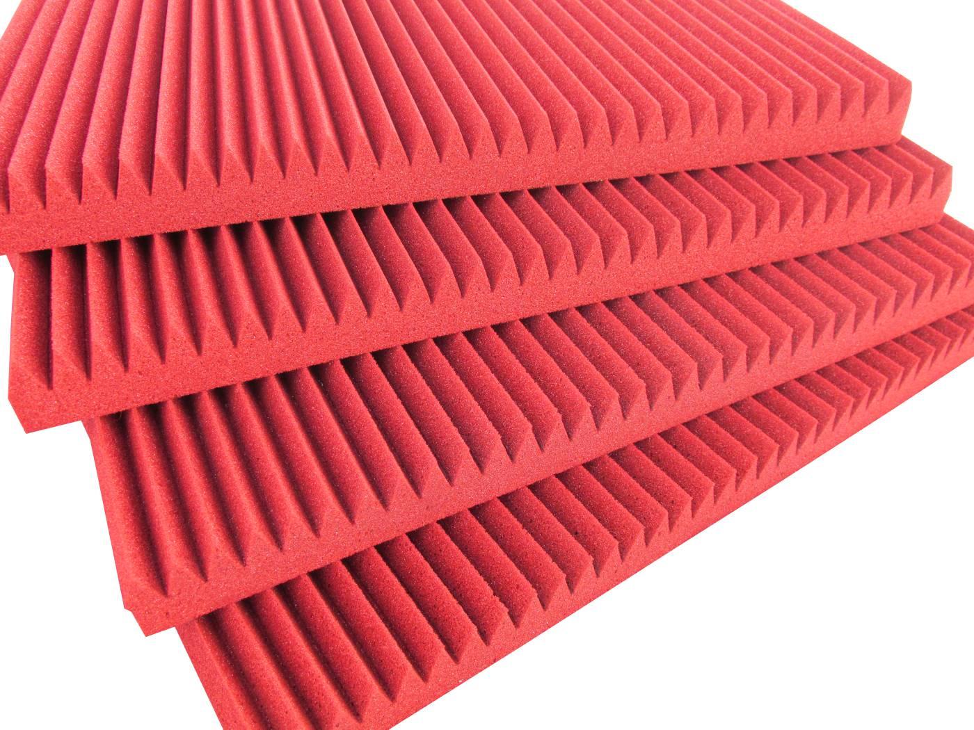 Espuma acústica REV - W - Vermelho - Kit 4 peças (1m²) - 30mm  - Loja SPL Acústica