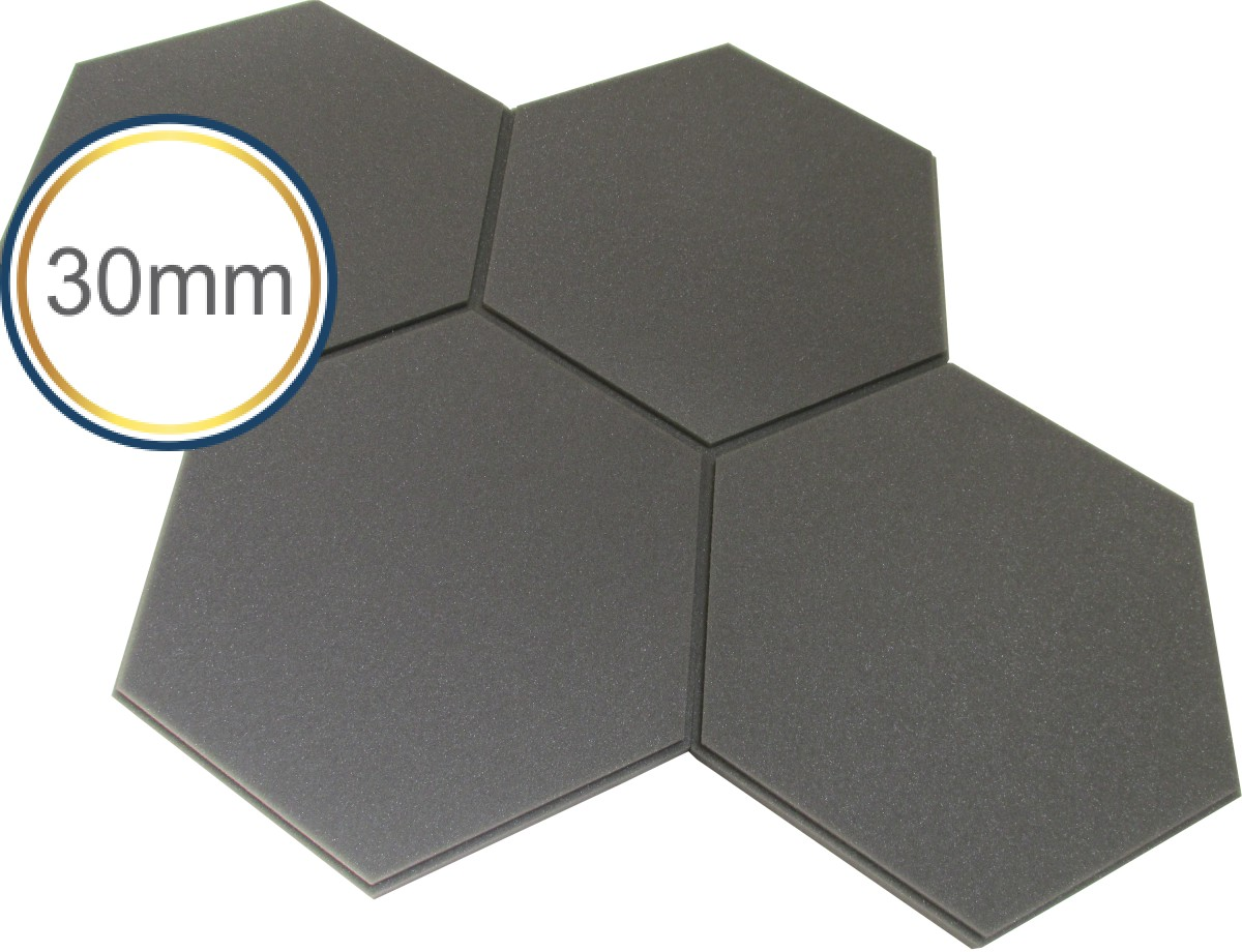 Espuma Acústica - REV Geometric- Hexagonal 3D -Cinza- Kit 5 peças - (1m²)  - Loja SPL Acústica